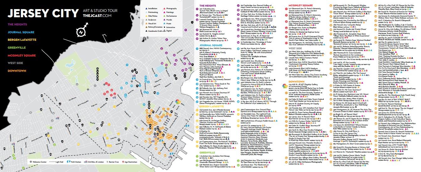 ART IN THE CITYJersey City Art Studio Tour JCAST Opens Doors - Map of jersey city