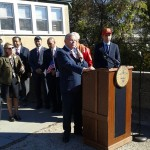 "NJ State Senator Bob Menendez speaking at 8th Annual Honoring Our Heroes"" in JC Historic Harsimus Cemetery"