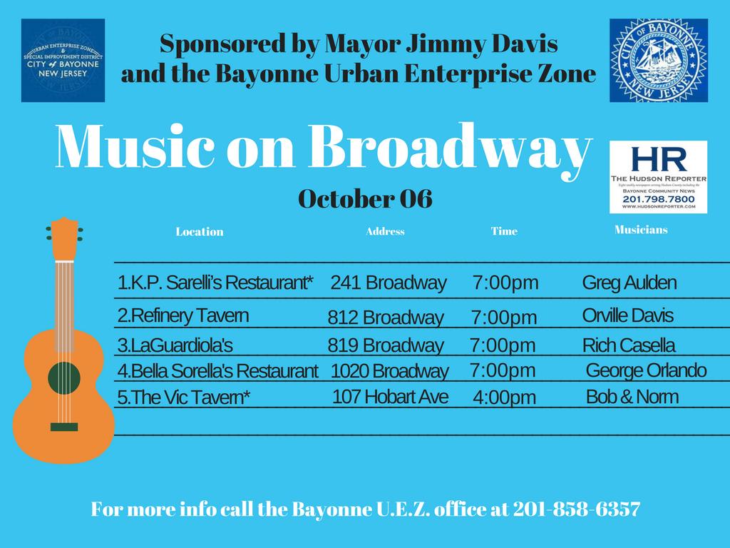 Music Broadway Bayonne Oct. 6 2017